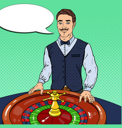 croupier behind roulette table pop art vector image vector image