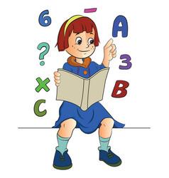 girl studying math vector image