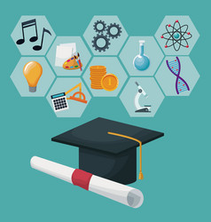 graduation cap and certificate with gray color vector image vector image