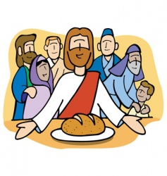 jesus sharing the bread vector image vector image