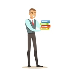 Man Holding Pile Of Folders Part Of Office vector image vector image