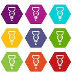 Spring scale icon set color hexahedron vector