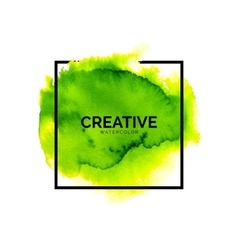 Abstract green watercolor background with square vector image vector image