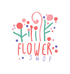 flower shop logo template hand drawn vector image vector image