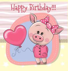 Greeting card cute pig girl with balloon vector