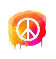 Peace sign on watercolor splatter Hippie vector image vector image