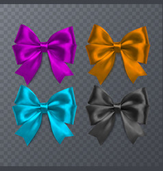 set of realistic bow on transparent background vector image