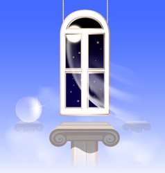 window in the nightly sky vector image