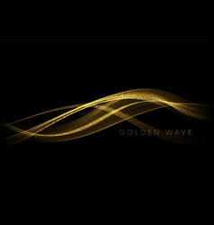 Abstract shiny color gold wave design element vector