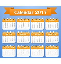 American calendar for 2017 week starts on sunday vector