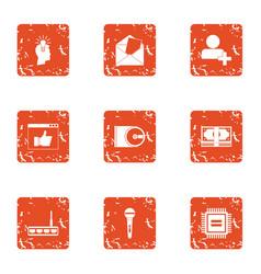 Amount of data icons set grunge style vector