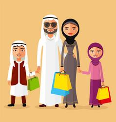 Arab couple with children shopping together vector