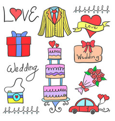 art wedding element in doodles vector image