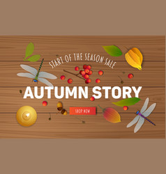 Autumn sale banner design with candle vector