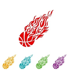 Basketball ball in flame sneakers icon color vector image