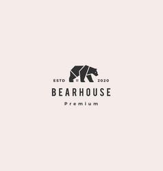 Bear house logo hipster retro vintage icon vector