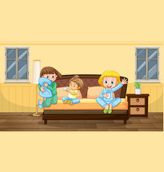 bedroom scene with three children in pajamas vector image