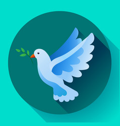 blue dove with branch peace icon flying bird vector image
