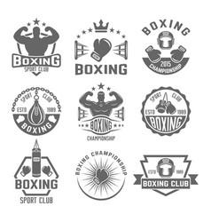 boxing club set black monochrome emblems vector image