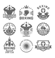 Boxing club set of black monochrome emblems vector