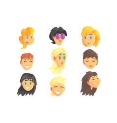 Cartoon avatar female faces with different vector