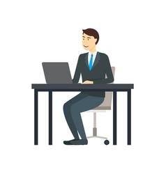 cartoon character man works at the computer vector image