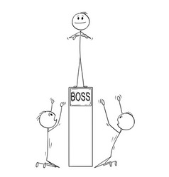 Cartoon of two men or businessmen worshiping boss vector