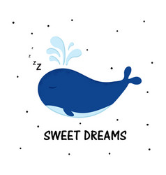 cartoon sweet whale vector image