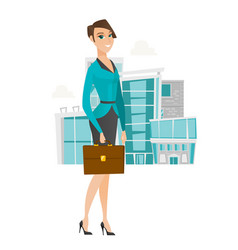 Caucasian business woman holding briefcase vector