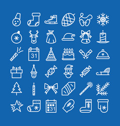 christmas icon set line style vector image