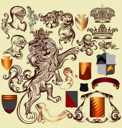 collection of heraldic elements for design vector image