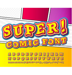 Colorful comics font kid alphabet pop art style vector