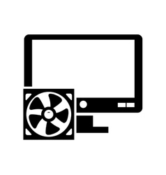 Computer monitor and fan icon vector