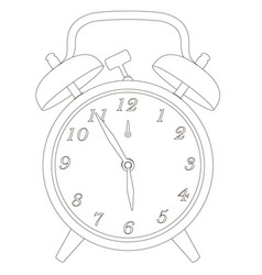 contour of the old clock with alarm clock vector image
