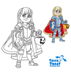 cute boy in knight or paladin in armor costume vector image