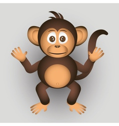 Cute chimpanzee little monkey cartoon character vector