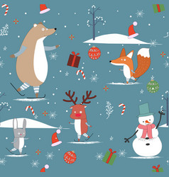 cute sweet winter and merry christmas animal vector image
