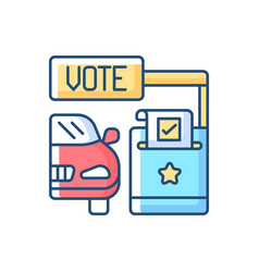 Drive through voting booth rgb color icon vector