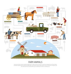 farm animals flowchart concept vector image