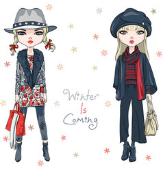 fashion girls in winter clothes vector image