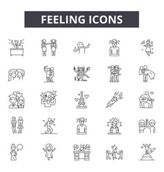 Feelings line icons for web and mobile design vector