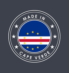 flag cape verde round label with country name vector image