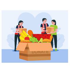 food donation big box in flat design vector image
