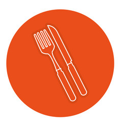 fork and knife cutlery isolated icon vector image