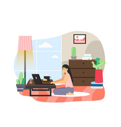 freelance remote work from home office flat vector image