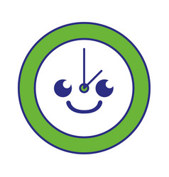 Full color smile circle clock kawaii cartoon vector