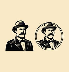 gentleman sir symbol portrait businessman vector image