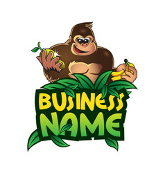 gorilla and fruits vector image