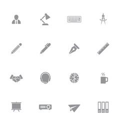 Gray simple flat icon set 8 vector