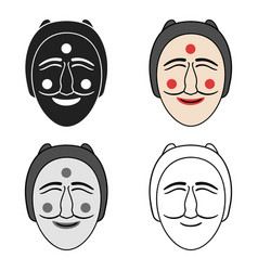 Hahoe mask icon in cartoon style isolated on white vector